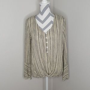NWT Entro Beige and Black Long Sleeve Top